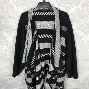 Torrid Black White Striped Knit Cardigan